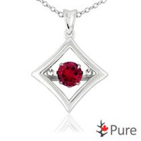Pure Dancing 1 carat T.G.W. Created Ruby (5.25mm) Diamond Shaped Necklace Set in 925 Sterling Silver