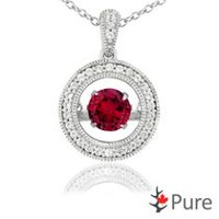 Pure Dancing 1 carat T.G.W. Created Ruby (5.25mm) Circle Shaped Necklace surrounded with White Corundum Set in 925 Sterling Silver