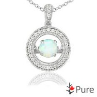 Pure Dancing Created Opal (5mm) Circle Shaped Necklace surrounded with White Corundum Set in 925 Sterling Silver