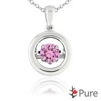 Pure Dancing 1 carat T.G.W. Created Pink Sapphire (5.25mm) Circle Shaped Necklace Set in 925 Sterling Silver
