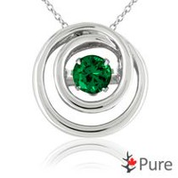 Pure Dancing 3/4 carat T.G.W. Created Emerald (5mm) Circle Shaped Necklace Set in 925 Sterling Silver