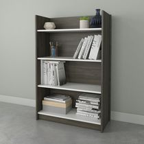 Nexera Chrono 4 Shelf Bookcase, Bark Grey and White