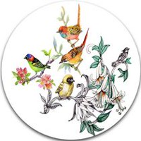 Design Art Tropical Flowers and Birds' Ultra Glossy Birds Metal Circle Wall Art 23in x 23in
