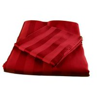 hometrends Ensemble de draps à rayures damassées de contexture T350 Rouge Grand lit