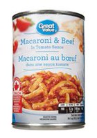 Great Value Macaroni & beef in tomato sauce