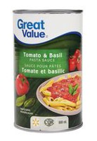 Sauce pour pâtes tomates et basilic de Great Value