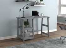 Safdie & Co. Computer Desk 44L Light Grey 2 Open Concept Shelves