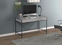 Safdie & Co. Computer Desk 49L Grey Cement 2 Drawers Black Metal