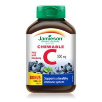 Jamieson Delicious Chewable Vitamin C Wild Blueberry Chewable Tablets, 500 mg