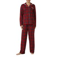 George Plus Women's Long Sleeve Notch Collar Pyjama Set Red plaid 2X