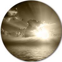 Design Art Sepia Toned Cloudy Sunrise' Ultra Glossy Landscape Metal Circle Wall Art 38in x 38in