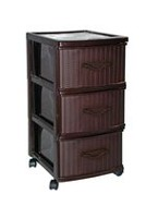 Gracious Living 3 Drawer Wicker Storage Tower
