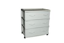 Gracious Living Wide Wicker 3 Drawer Cart