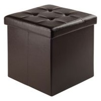 Winsome Ashford Faux Leather Ottoman with Storage Espresso