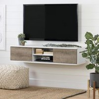 "South Shore Agora 56"" Wide Wall Mounted Media Console Pure White and Weathered Oak"