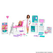 Barbie Fast Cast Clinic Playset with Brunette Barbie Doctor Doll, 4 Play Areas, 30+ Play Pieces