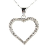 Sterling Silver Heart Pendent with Cubic Zirconia