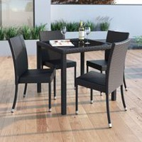 CorLiving Sonax PPT-603-T Park Terrace Charcoal Black Weave Square Patio Dining Table