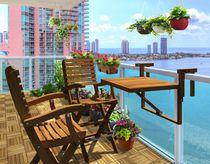 Toronto Acacia Balcony Table, Golden Teak by Interbuild Canada