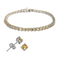 Sterling Silver Genuine Gemstone Bracelet and Stud Earring Set - citrines