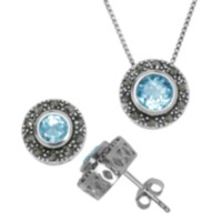 Sterling Silver Marcasite and Genuine Gemstone Pendant and Earring Set - Blue Topaz