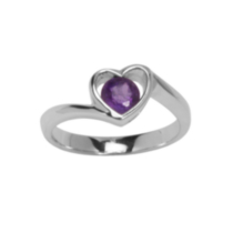 Sterling Silver Heart Rings with Genuine Gemstones Amethyst 6