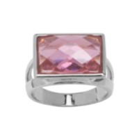 Bague cocktail en argent sterling à zircon rose 7