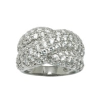 Sterling Silver High Quality Cubic Zirconia Criss Cross Ring 6