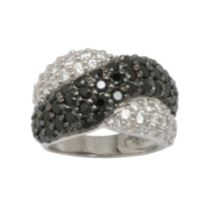 Sterling Silver High Quality Black and White Cubic Zirconia Criss Cross Ring 8