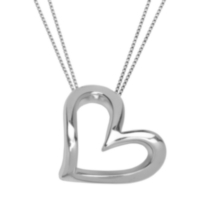 Sterling Silver Waved Floating Heart Necklace