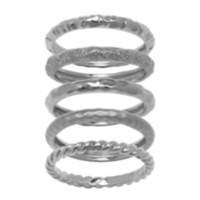 Sterling Silver Matte Finished Set of 5 Textured Rings R4A8TZ97AL 9