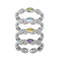 Sterling Silver Set of 4 Genuine Gemstone Rings 7
