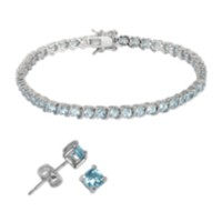 Sterling Silver Genuine Gemstone Bracelet and Stud Earring Set - blue topaz