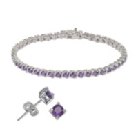 Sterling Silver Genuine Gemstone Bracelet and Stud Earring Set - amethyst