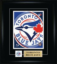Frameworth Sports Toronto Blue Jays - Framed 8 x 10 Pin & Plate Logo Print Picture