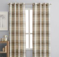 "hometrends Reilly Plaid 84"" Window Curtain Panel Grommets"
