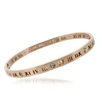Pure316 Women's Rose Gold Plated Roman Numeral Bracelet