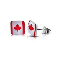 Pure316 Women's 7mm Flag Of Canada Square Stud Earrings