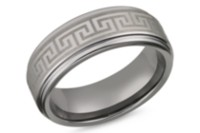 Tungsten with Greek Key Symbol 8mm Mens Ring 10
