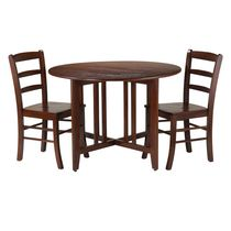 Winsome Alamo 3-Piece Round Drop Leaf Table with 2 Ladder Back Chairs - 94305