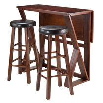 "Winsome Harrington 3-Piece Drop Leaf High Table, 2-29"" Cushion Round Seat Stools - 94336"
