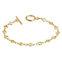 "Pure316 Women's 8"" Open Love Heart Flower Gold Plated Link Toggle Bracelet"