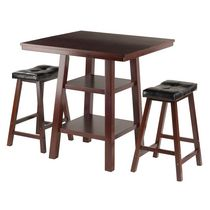 Winsome Orlando 3-Piece Set High Table, 2 Shelves with 2 Cushion Seat Stools - 94362