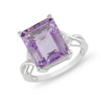 Tangelo 5 7/8 ct Amethyst and White Topaz Ring in Silver 6