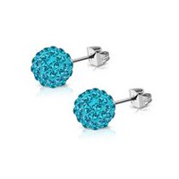 Pure316 Women's 6mm Blue CZ Argil Disco Ball Shamballa Stud Earrings