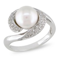 Miabella 8-8.5 mm FW White Pearl and 1/10 ct Diamond Ring in Silver 7