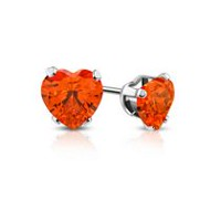 Pure316 Women's 5mm Prong-Set Love Heart Stud Earrings with Orange Hyacinth CZ