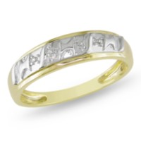 Miabella Men's Diamond Illusion Wedding Band in 10 K Yellow Gold 10