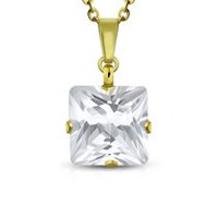 Pure316 - Women's 8 mm Clear CZ Prong-Set Square Charm Gold Plated Necklace
