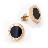 Pure316 - Women's Black Glaze Mirror Polished Round Roman Numeral Rose Gold Plated Studs